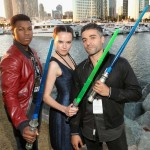 (L-R) Actors John Boyega, Daisy Ridley, Oscar Isaac and more than 6000 fans enjoyed a surprise `Star Wars` Fan Concert