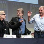 (L-R) Actors Carrie Fisher, Mark Hamill and Harrison Ford at the Hall H Panel for `Star Wars: The Force Awakens`