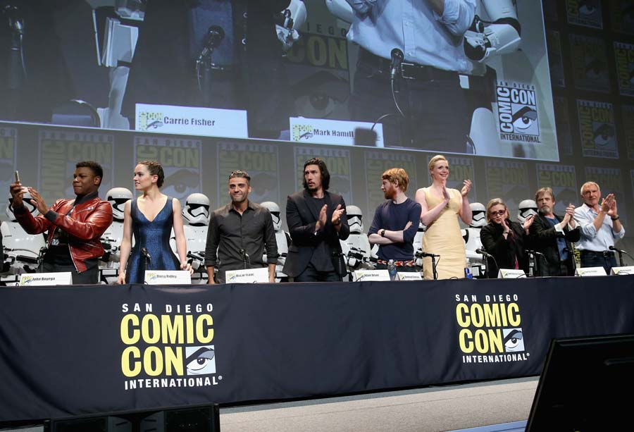 Actors John Boyega, Daisy Ridley, Oscar Isaac, Adam Driver, Domhnall Gleeson, Gwendoline Christie, Carrie Fisher, Mark Hamill and Harrison Ford at the Hall H Panel for `Star Wars: The Force Awakens` during Comic-Con International 2015
