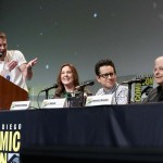 (L-R) Moderator Chris Hardwick, producer Kathleen Kennedy, director J.J. Abrams and screenwriter Lawrence Kasdan at the Hall H Panel for `Star Wars: The Force Awakens` during Comic-Con International 2015