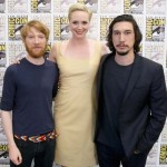Actors Domhnall Gleeson, Gwendoline Christie and Adam Driver at the Hall H Panel for `Star Wars: The Force Awakens`