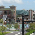 Pedestrian bridge from Team Disney building looking good
