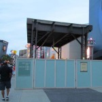 Elevated train track motif continues down toward Disney Quest