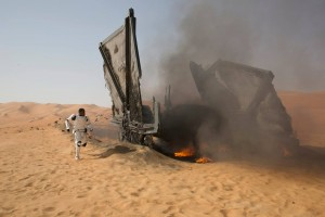 It looks like Finn crashed his Tie-fighter, but Stormtroopers don't normally pilot Ties. He must have stolen it