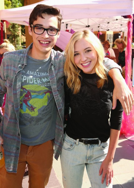"""BURBANK, CA - SEPTEMBER 27: Actors Joey Bragg (L) and Lauren Taylor attend a special LA screening celebrating Diamond Edition release of """"ALADDIN"""" at The Walt Disney Studios on September 27, 2015 in Burbank, California. (Photo by Jesse Grant/Getty Images for Disney)"""