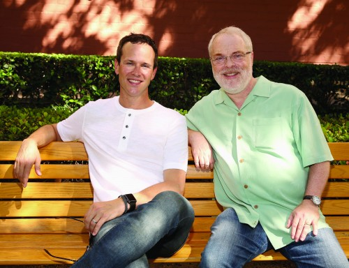 "BURBANK, CA - SEPTEMBER 27: Actor Scott Weinger (L) and Director/producer Ron Clements attend a special LA screening celebrating Diamond Edition release of ""ALADDIN"" at The Walt Disney Studios on September 27, 2015 in Burbank, California. (Photo by Jesse Grant/Getty Images for Disney)"