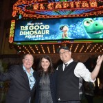 (L-R) Executive producer John Lasseter, producer Denise Ream and director Peter Sohn attend the World Premiere Of Disney-Pixar's THE GOOD DINOSAUR at the El Capitan Theatre on November 17, 2015 in Hollywood, California. (Photo by Alberto E. Rodriguez/Getty Images for Disney)