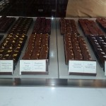The chocolate ganache squares are on display