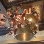 Love this copper pot and pan chandelier
