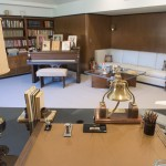 """View of Walt Disney's """"formal office"""" from behind desk."""