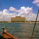 A rare view of The Contemporary without the Convention Center approaching via boat