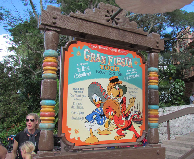 New sign advertising Gran Fiesta Tour outside the Mexico Pavilion