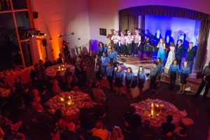 "The Walt Disney Family Museum Fundraising Gala and Diane Disney Miller Lifetime Achievement Award  The Dapper Dans of Disneyland, Richard Sherman, Jodi Benson, Julianna Hansen, Tony Anselmo, Bill Farmer, and Oakland Youth Chorus perform ""it's a small world.""  Photo by Drew Altizer Photography, courtesy of The Walt Disney Family Museum. — at The Walt Disney Family Museum."