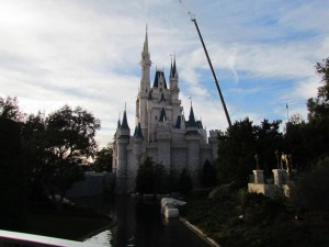 Crane was removing lights from Christmas show