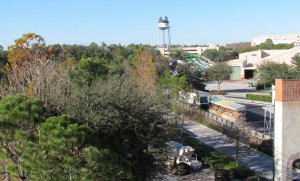 We hiked up the Lights, Motors, Action grandstands to get a picture of the future home of Toy Story Land. Sadly, the famous Earful Tower will go away along with all this backstage stuff