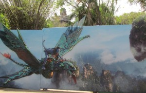 """This wall hides the walk-way to """"Avatar--the World of Pandora"""""""