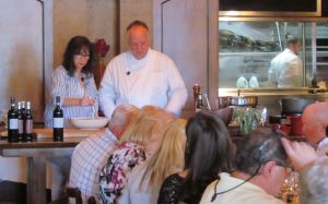 Chef Tony and Cathy held court on an elevated table