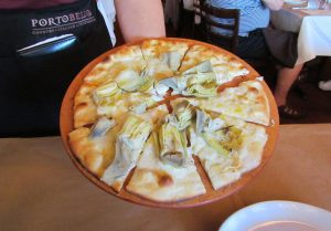 Opening course was a white pizza with Artichoke Hearts.