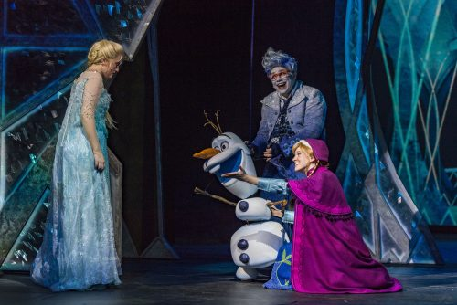 "Elsa, Olaf and Anna in ""Frozen, A Musical Spectacular"" on Disney Cruise Line Wonder"