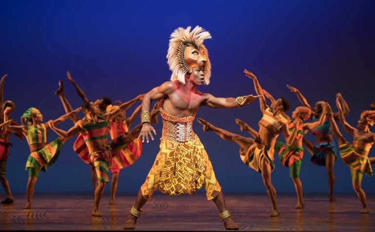 Bradley Gibson as Simba in The Lion King on Broadway