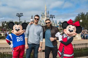 Mickey Mouse and New England Patriots Tom Brady and Julian Edelman