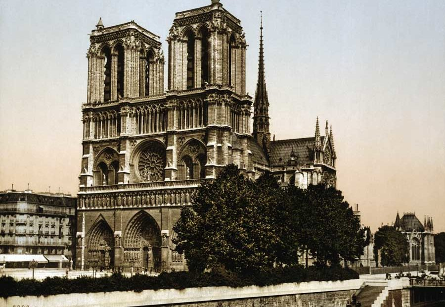 Notre Dame Cathedral in Paris, France Circa 1890-1900