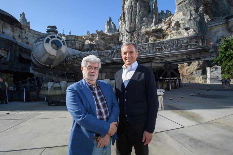 Bob Iger and George Lucas at Disneyland