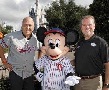 Hall of fame baseball legend Cal Ripken Jr. and Mickey Mouse
