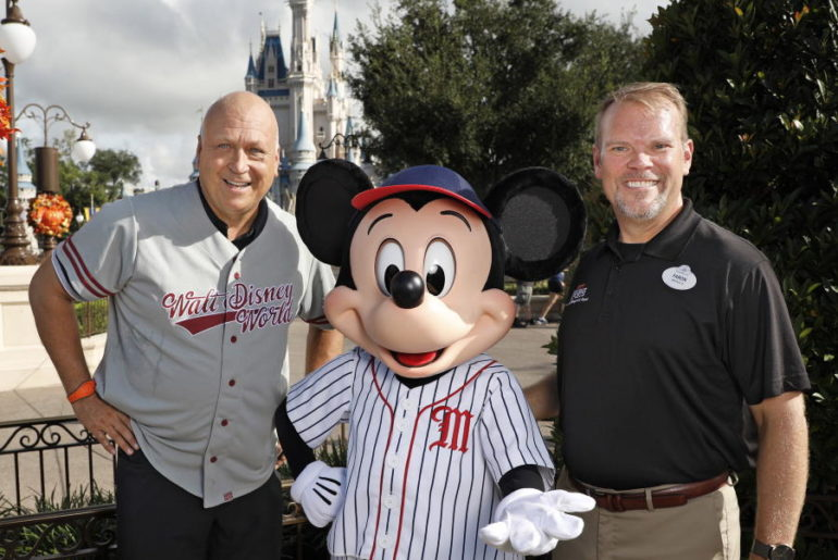 Hall of fame baseball legend Cal Ripken Jr. and Mickey Mouse