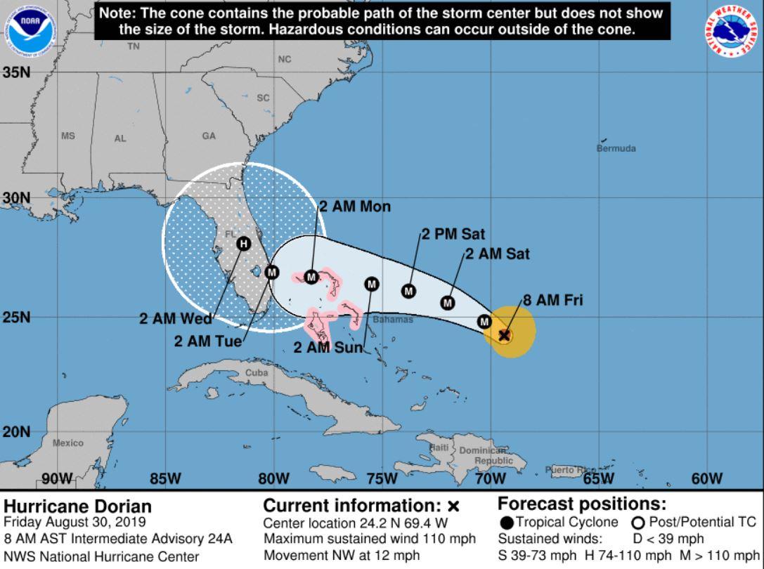 NOAA Hurricane Dorian Forecast Cone