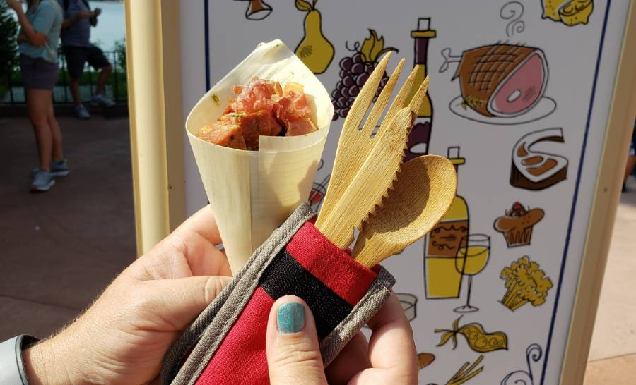 2019 Food an Wine Festival reusable bamboo utensil cutlery set.