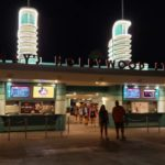 disney's hollywood studios entrance at night