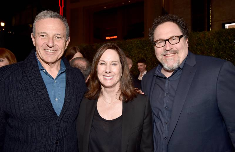 "Disney CEO Bob Iger, Executive Producer Kathleen Kennedy and Executive Producer Jon Favreau arrive at the premiere of Lucasfilm's ""The Mandalorian."""