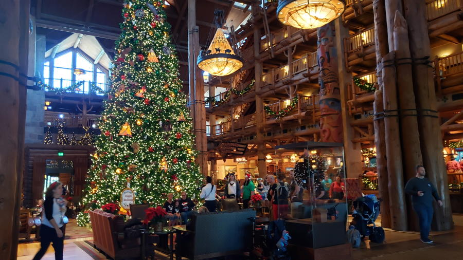 Wilderness Lodge lobby glows with the