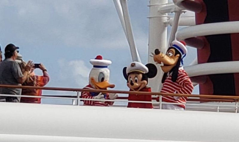 Disney Cruise Line characters - Captain Minnie Mouse with Sailors Goofy and Donald