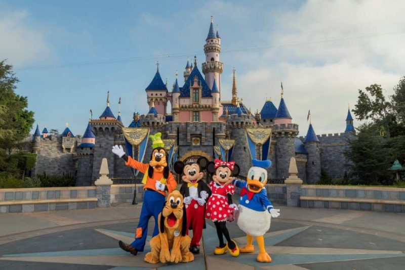 Sleeping Beauty castle with Mickey Mouse and friends.