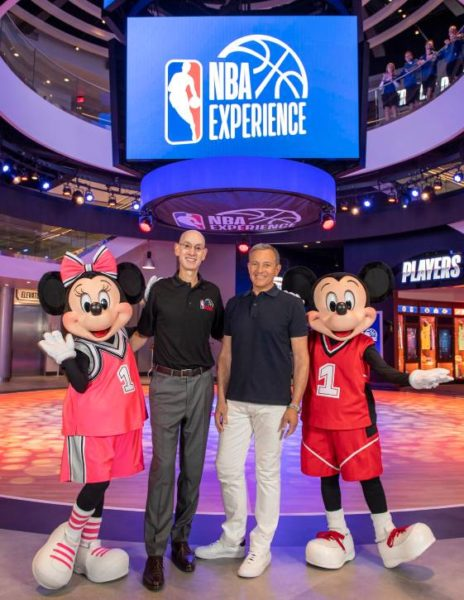 NBA Commish Adam Silver with Bob Iger and Mickey and Minnie at the opening of the NBA Experience at Disney Springs