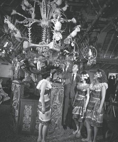 Walt Disney in Enchanted Tiki Room at Disneyland, 1963