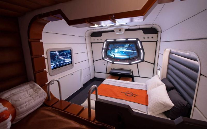 Star Wars Hotel room mockup. Starport looks out into space