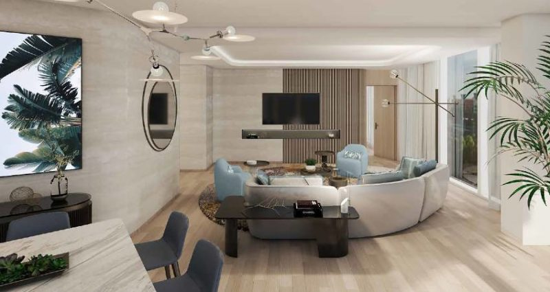 Living space in the Presidential Suite