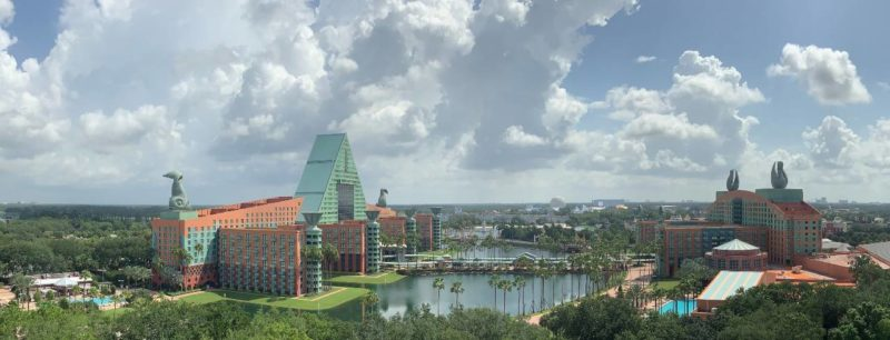 Panoramic view from top of Swan Reserve looking out toward the Swan and Dolphin resorts.