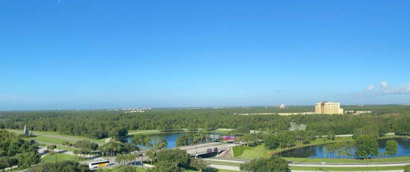 Swan Reserve Panoramic View looking toward Disney's Animal Kingdom and Coronado Springs Resort.