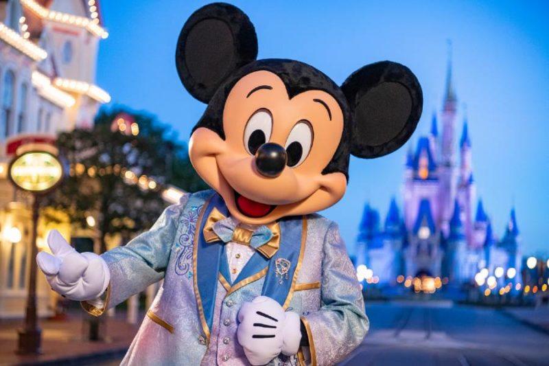 Mickey Mouse at Magic Kingdom in his new 50th anniversary attire