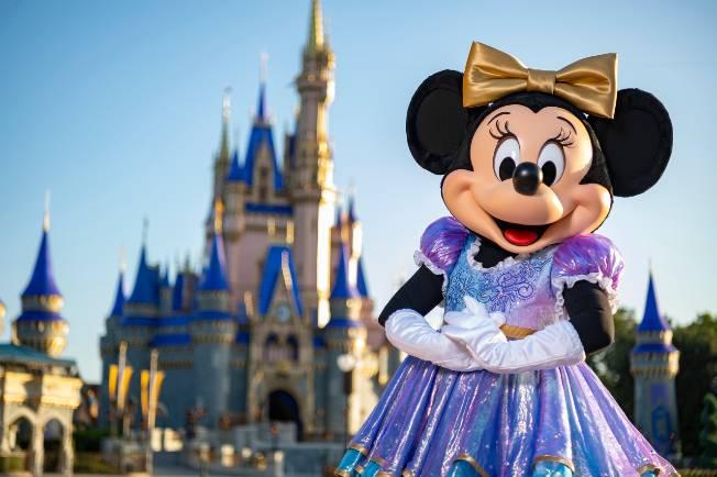Minnie Mouse at Magic Kingdom in her new 50th anniversary attire