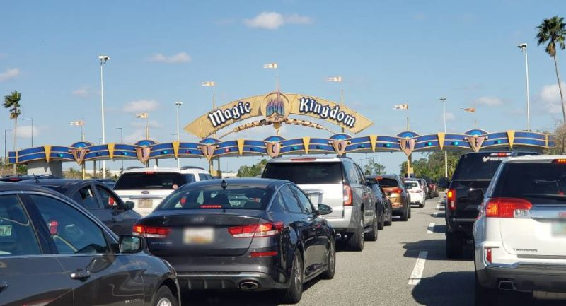 Magic Kingdom Toll Plaza backed up with cars in 2021