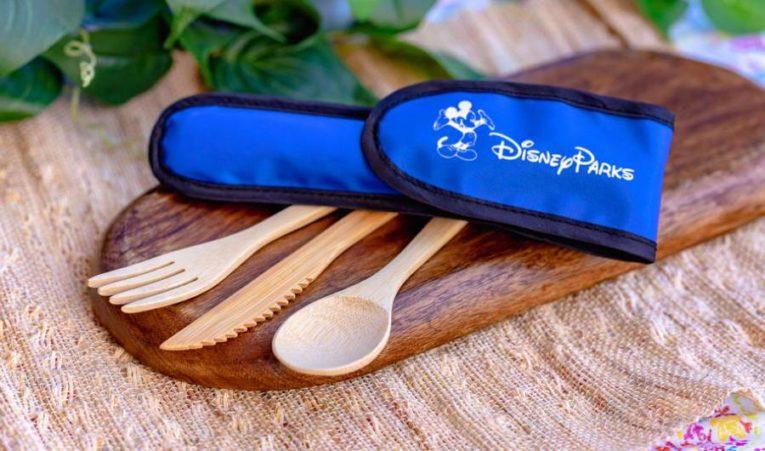 New Disney Parks reusable bamboo utensil cutlery set.