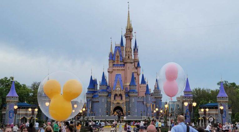 Cinderella Castle with Mickey Ear Balloons