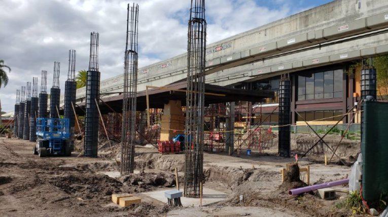 Construction on the main entrance of Disney's Polynesian Village Resort