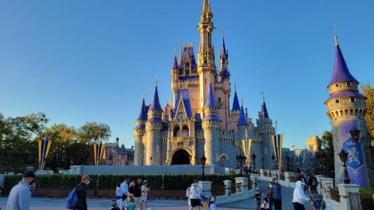 Cinderella Castle with new gold, rose, and royal blue color scheme
