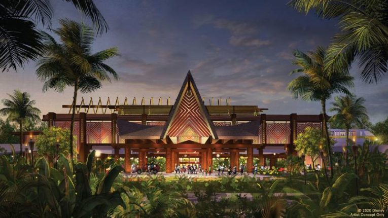 Concept Art for remodeled main entrance to Disney's Polynesian Village Resort
